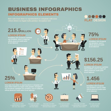 employee: Office work business team effective management and creative planning infographics charts poster print abstract isolated vector illustration Illustration