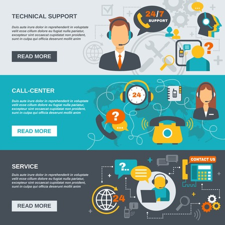 care: Technical support call center and service flat banner set isolated vector illustration Illustration