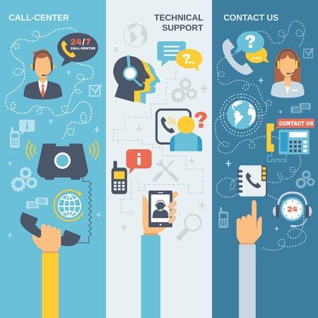 apoyo social: El soporte técnico de centro de llamadas en contacto con nosotros plana banner vertical conjunto aislado ilustración vectorial
