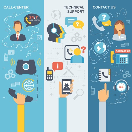 contact center: Technical support call center contact us flat vertical banner set isolated vector illustration