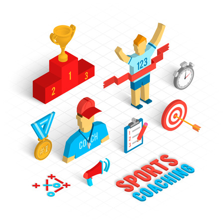 football trophy: Sport coaching concept with isometric decorative icons set isolated vector illustration Illustration
