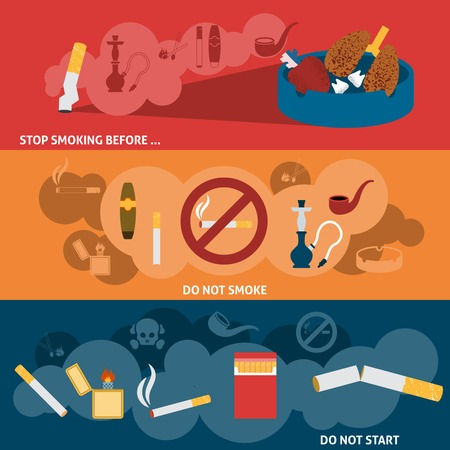 smoking kills: Smoking kills harmful hazzard habit flat horizontal banner set isolated vector illustration