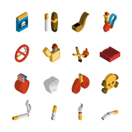 ashtray: Smoking 3d isometric icon set with matches cigar pipe isolated vector illustration Illustration