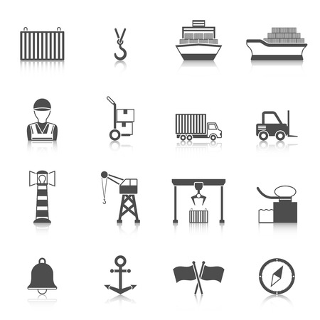 Seaport black icon set with lighthouse crane truck loader isolated vector illustration