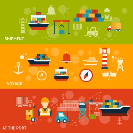 sea seaport: Seaport flat horizontal banner set with shipment voyage port isolated vector illustration
