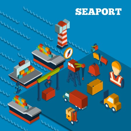 sea seaport: Seaport freight transportation concept with isometric icons set vector illustration Illustration