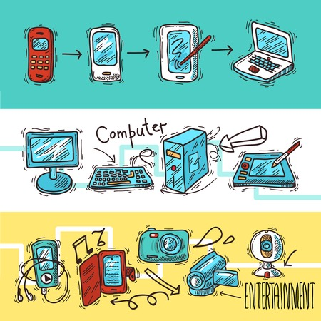 electronic device: Digital device doodle banner set with video audio electronic gadgets isolated vector illustration Illustration