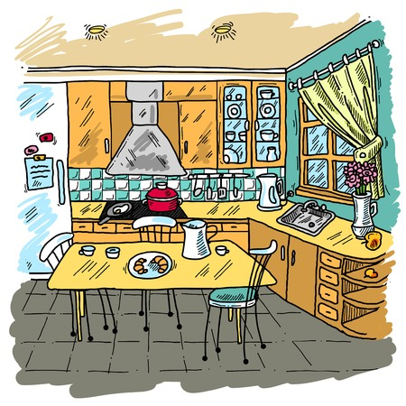 Kitchen colored sketch decorative background with domestic furniture vector illustration Çizim