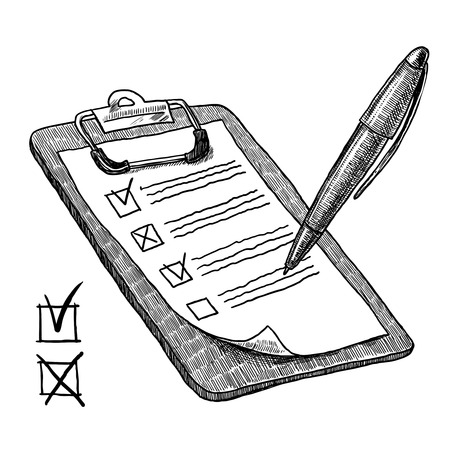 チェック リスト アンケート チェック ボックスとペン スケッチ ベクトル図のクリップボード