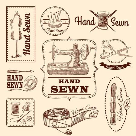 kit de costura: Emblemas de costura dibujado a mano Juego con elementos de medida y la costura aislado ilustración vectorial Vectores