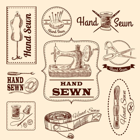Sewing emblems hand drawn set with tailor and needlework elements isolated vector illustration Illustration