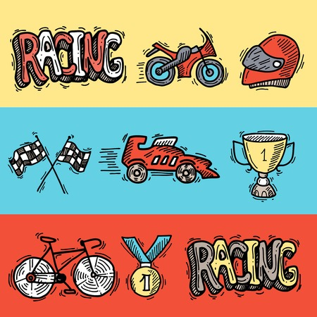 bolide: Racing auto sport car competition sketch horizontal banners set isolated vector illustration