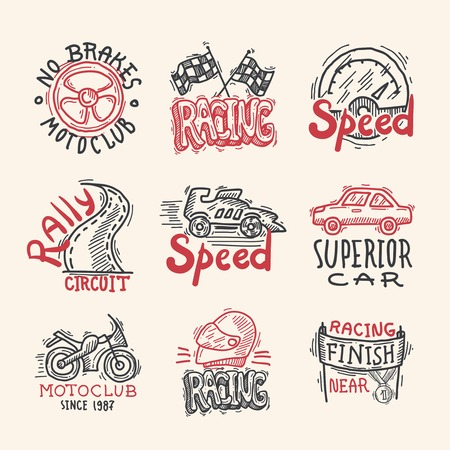 rally: Racing superior car rally circuit sketch emblems set isolated vector illustration
