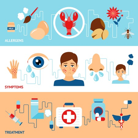 Allergy banner set with allegens symptoms treatment elements isolated vector illustration Vector