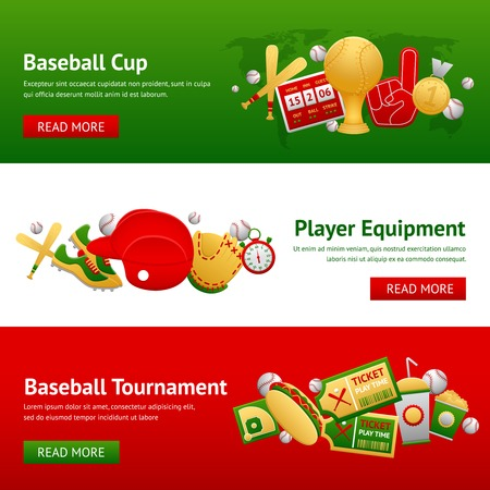 Baseball game horizontal banner set with cup player equipment and tournament elements isolated vector illustration Vector