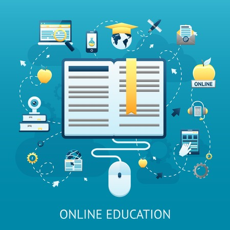 Online education design concept with book and computer mouse vector illustration