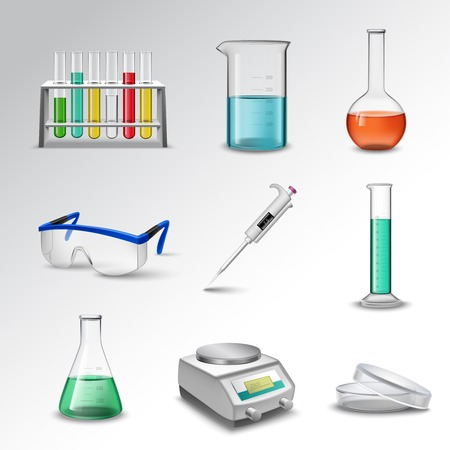 Laboratory glass equipment realistic decorative icons set with flasks beakers and pipette isolated vector illustration