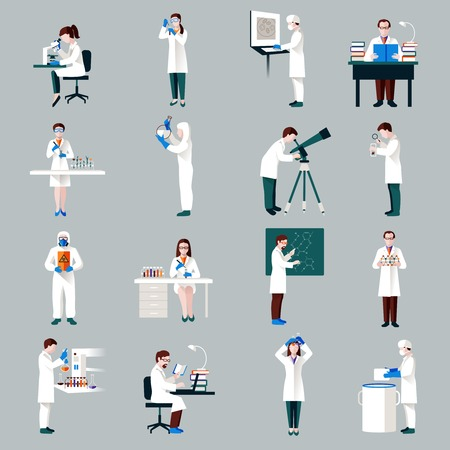 Scientists characters set with male and female people in laboratory isolated vector illustration Vector