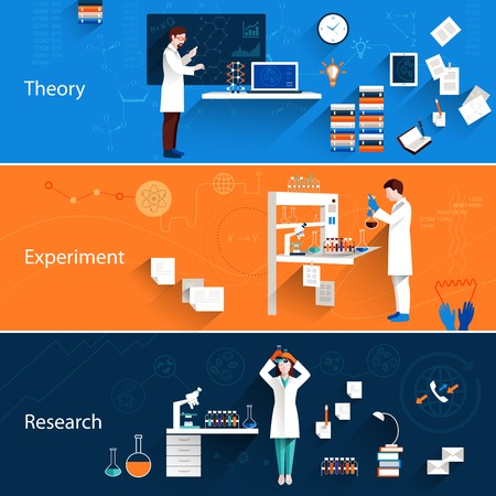 science scientific: Science horizontal banners set with theory experiment research isolated vector illustration