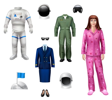 Astronaut girl character pack with explorer costume helmet and flag isolated icons vector illustration Vector