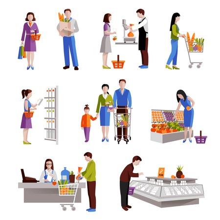 abarrotes: La gente en los productos comestibles de compra de supermercado iconos decorativos conjunto aislado ilustraci�n vectorial