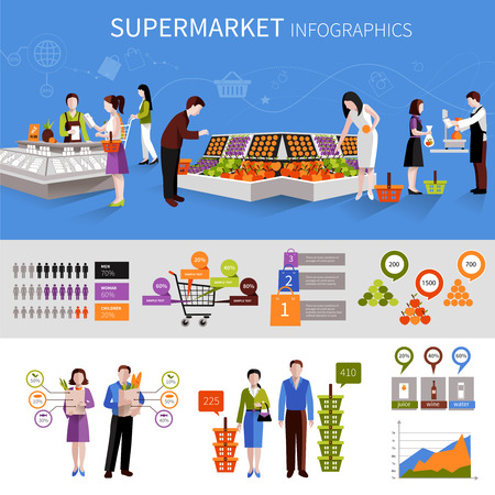 shelf: People buying food products in supermarket infographics set with charts vector illustration