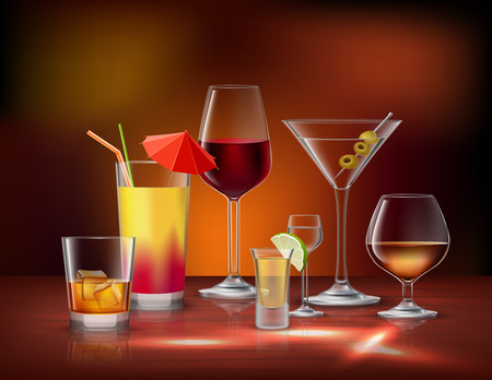 bar: Alcohol drinks beverages in glasses decorative icons set vector illustration