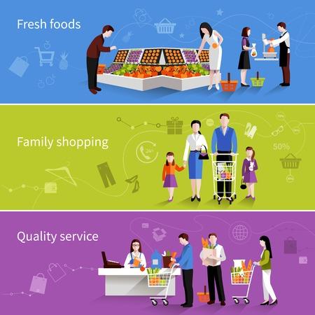La gente en los supermercados plana banners horizontales establecidas con alimentos frescos familiares elementos de calidad de servicio de compras aisladas ilustración vectorial
