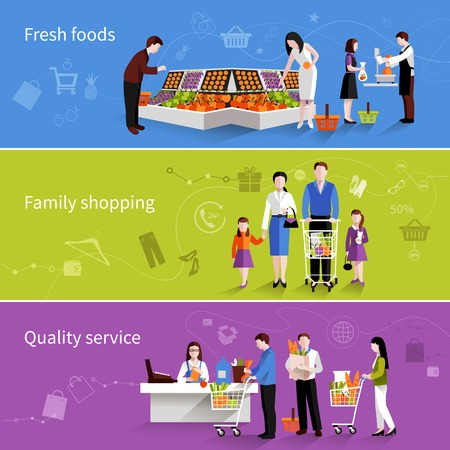 grocery shelves: People in supermarket flat horizontal banners set with fresh foods family shopping quality service elements isolated vector illustration Illustration