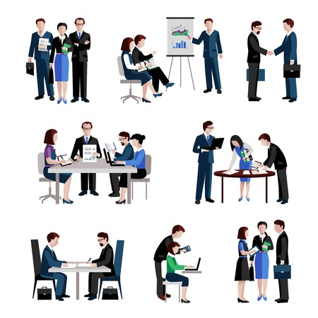 Teamwork icons set with men and women teams conference brainstorming isolated vector illustration Çizim