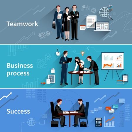 業務: 團隊合作橫幅設置與業務流程和成功要素孤立的矢量插圖