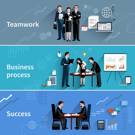 team business: Teamwork banners set with business process and success elements isolated vector illustration