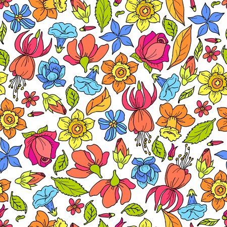 rose coloured: Flowers summer fashion plant romantic floral seamless pattern colored vector illustration