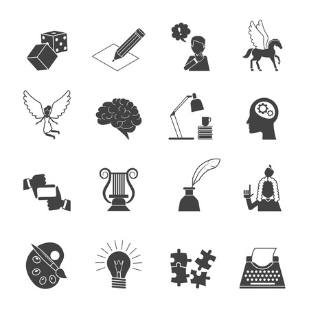typing machine: Muse and inspiration black icon set with typing machine brain color palette isolated vector illustration