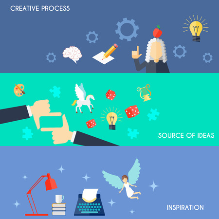muse: Muse flat horizontal banner set with creative process source of ideas inspiration elements isolated vector illustration Illustration