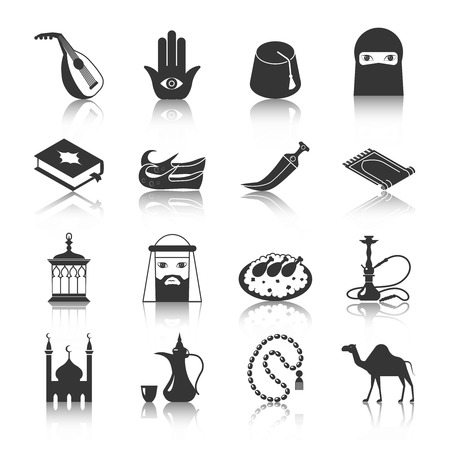 sword: Arabic and islamic religion culture icon black set isolated vector illustration