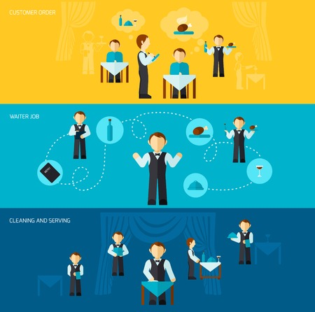 waiter: Waiter man banner flat set with customer order cleaning and serving elements isolated vector illustration Illustration