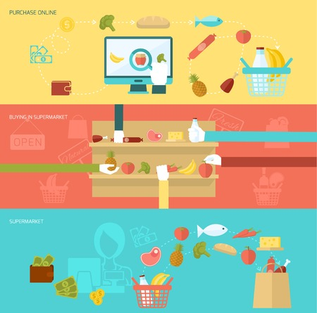 supermarket shopping cart: Supermarket banner flat set with online purchase buying elements isolated vector illustration