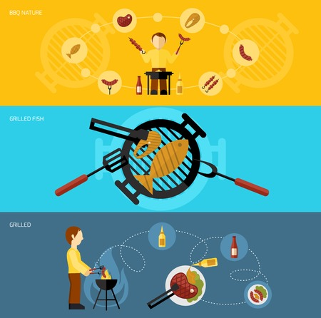 Bbq grill flat horizontal banner set with food cooking elements isolated vector illustration Vector