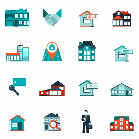 Onroerend goed huis en appartement te huren en verkoop pictogram platte set geïsoleerd vector illustratie Stock Illustratie