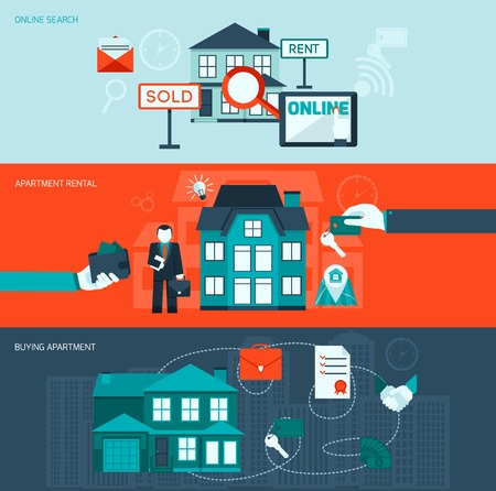 real estate agent: Real estate flat horizontal banner set with online search apartment rental and buying elements isolated vector illustration Illustration