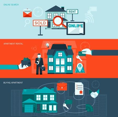 Vastgoed vlakke horizontale banner die met online zoeken appartement en kopen elementen geïsoleerd vector illustratie