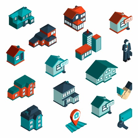mortgage: Real estate icon isometric set with houses and commercial buildings 3d isolated vector illustration Illustration