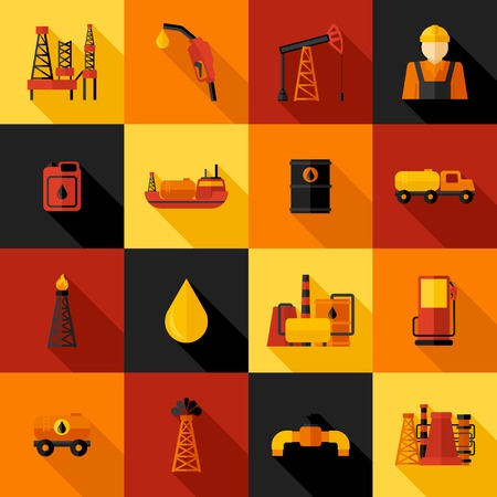 gas can: Oil industry gasoline petroleum processing icons flat set isolated vector illustration