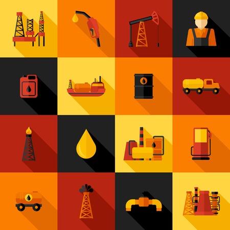 Olie-industrie benzine petroleum verwerking iconen flat set geïsoleerd vector illustratie Stock Illustratie