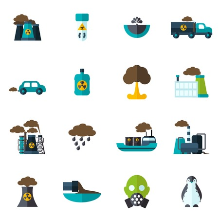 earth pollution: Pollution garbage and chemical waste icon flat set isolated vector illustration