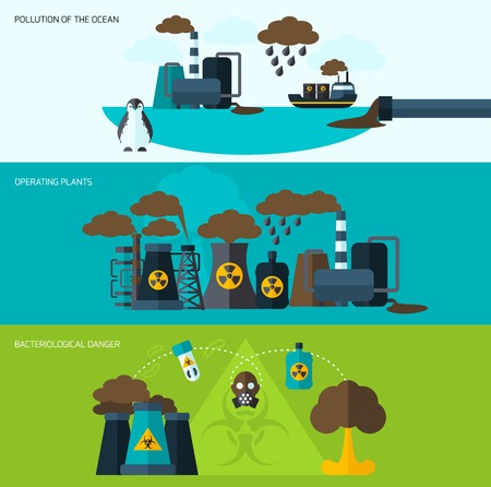 bacteriological: Pollution flat horizontal banner set with bacteriological danger operating plants elements isolated vector illustration Illustration