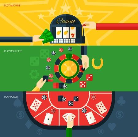 ruleta: Casino banner horizontal plana fija con juego de máquina tragaperras de póker y ruleta elementos aislados ilustración vectorial