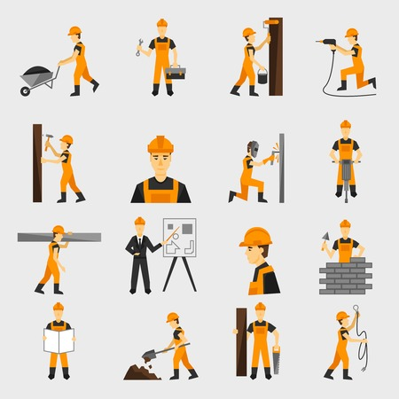 Construction worker character building with hand hammer drill in helmet flat icons set abstract isolated vector illustration Vectores