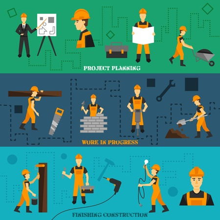 construction workers: Construction horizontal banners set with project planning work in progress finishing elements isolated vector illustration